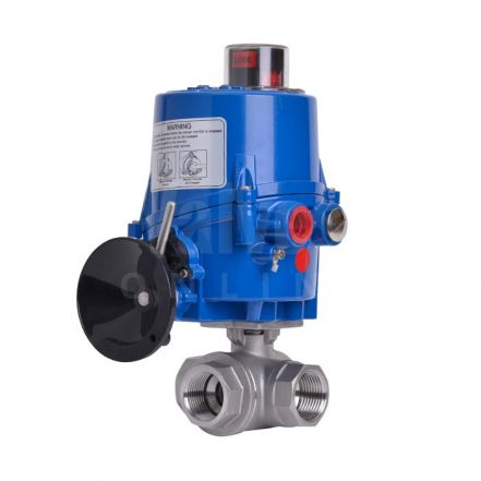 Electric Actuated 3 Way Screwed Stainless Steel Ball Valve