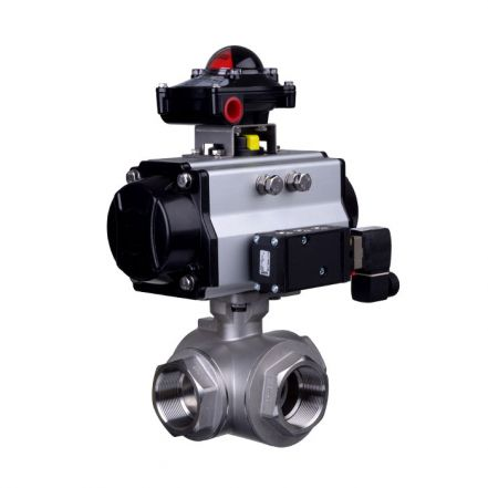 Pneumatic Actuated 3 Way Stainless Steel Ball Valve