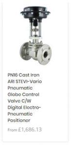 PN16 Cast Iron ARI STEVI-Vario Pneumatic Globe Control Valve C/W Digital Electro-Pneumatic Positioner